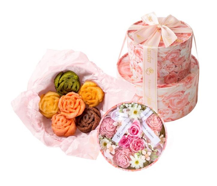 日比谷花壇×Mon cher プリザーブド&アーティフィシャルフラワーギフトセット(パステル)