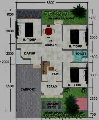 denah rumah 1 lantai 3 kamar tidur dan garasi