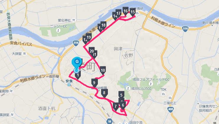 2017さかえリバーサイドマラソンのコースで、距離表示付きです