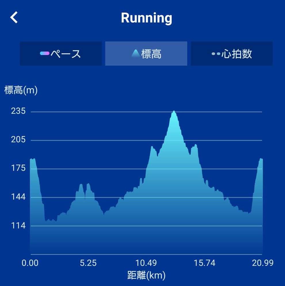 第52回奥久慈湯の里大子マラソン大会の高低差