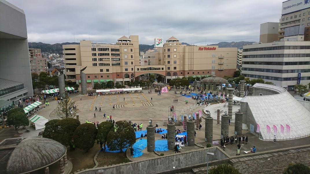 第19回日立さくらロードレース大会会場の新都市広場の様子