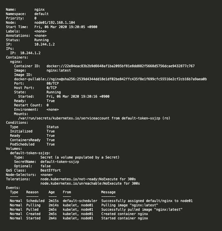 Podの作成 生成されたPodの詳細情報を確認