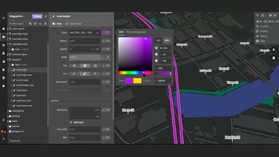 Mapboxの地図開発画面