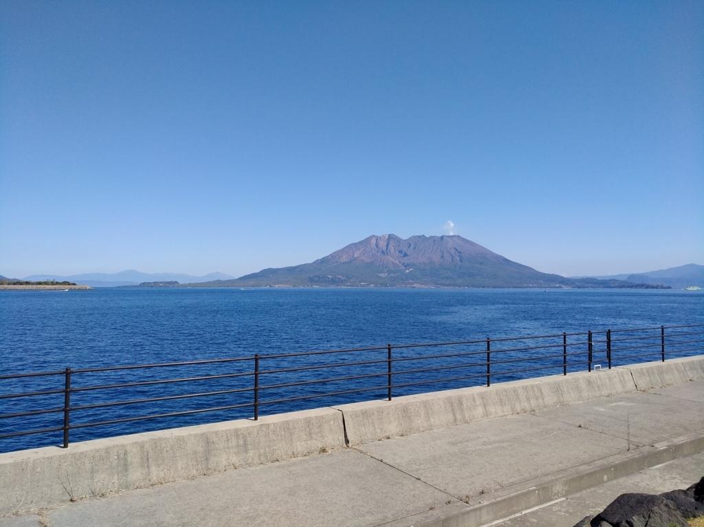 マリンポートかごしまから見る桜島