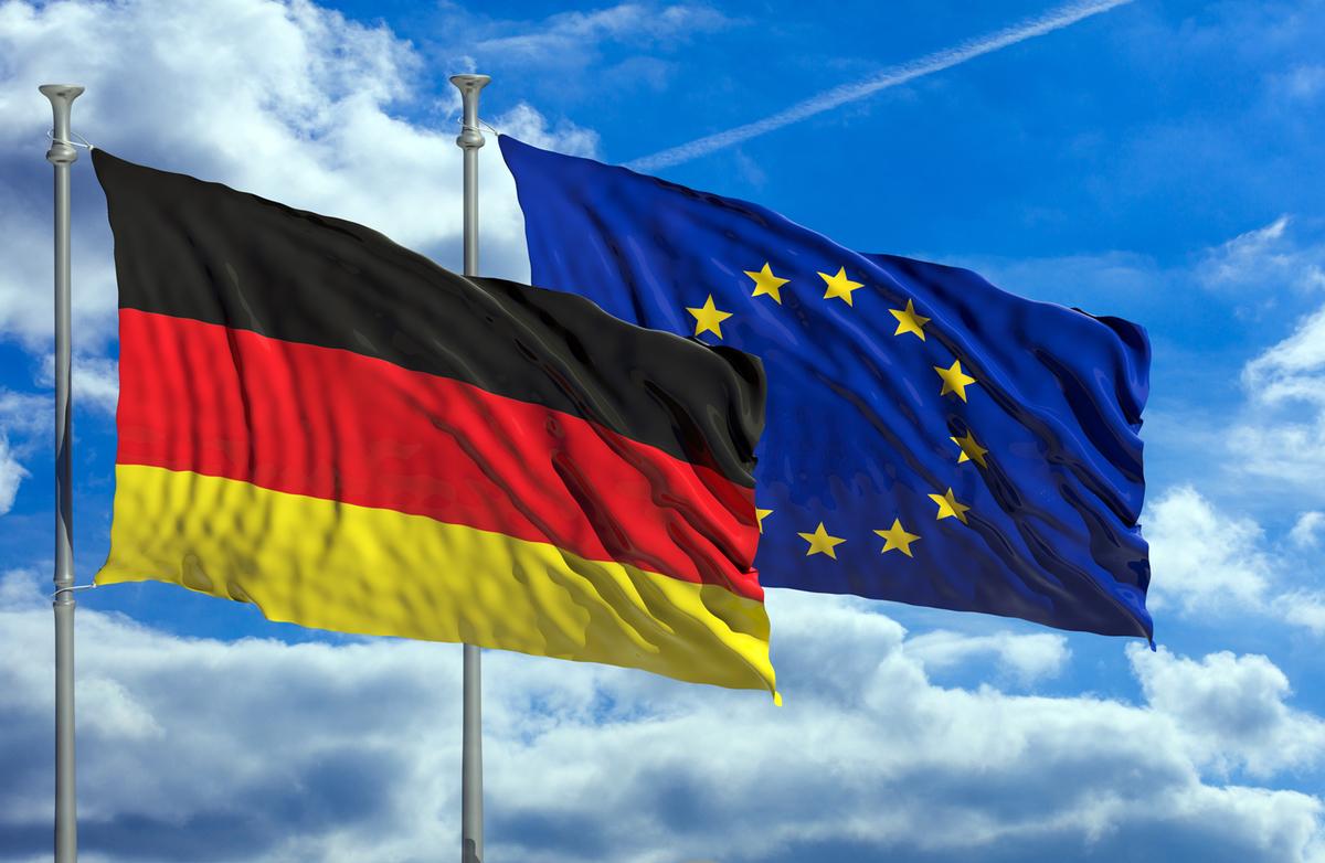 ドイツ国旗とEU旗