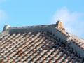 赤瓦葺き屋根の上のシーサー