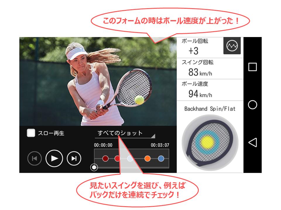 ライブモードビデオの再生画面