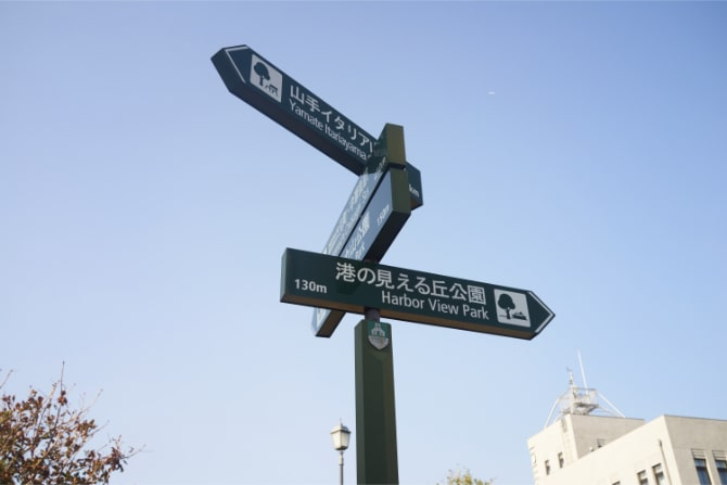 山手のさまざまな観光名所を示すサイン