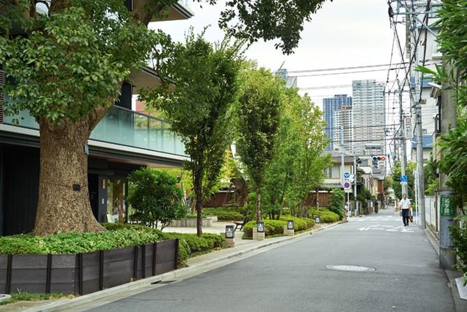左がGATE SQUARE 小杉陣屋町。右奥に武蔵小杉駅周辺のタワマン街が見える
