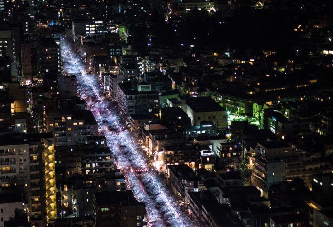中目黒アトラスタワーから眺める夜桜