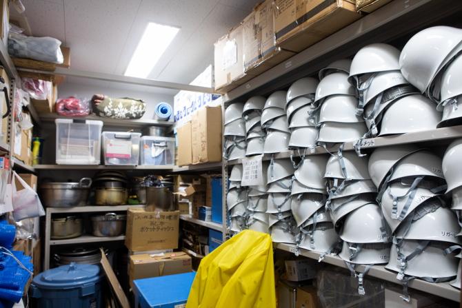 防災アイテムを集めた倉庫