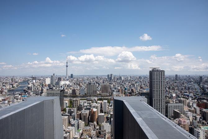 高さ約141mの屋上からの眺望