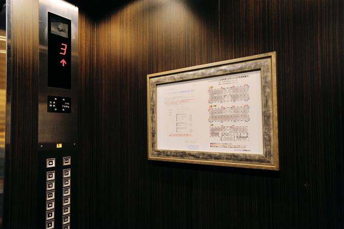 エレベーター内の額縁