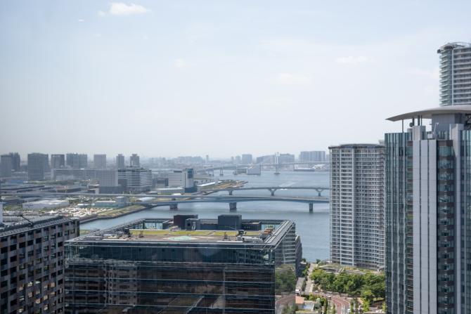 シティタワーズ豊洲 ザ・シンボルのスカイラウンジからの西側の眺望