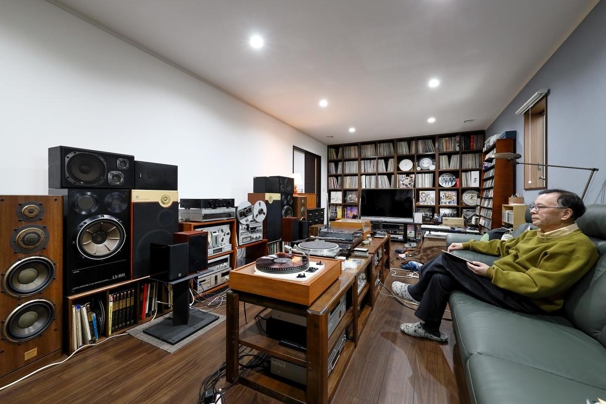 レコード棚にもこだわった18畳のオーディオルーム/注文住宅実例