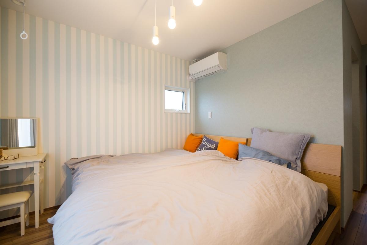 水色を基調とした寝室/注文住宅実例