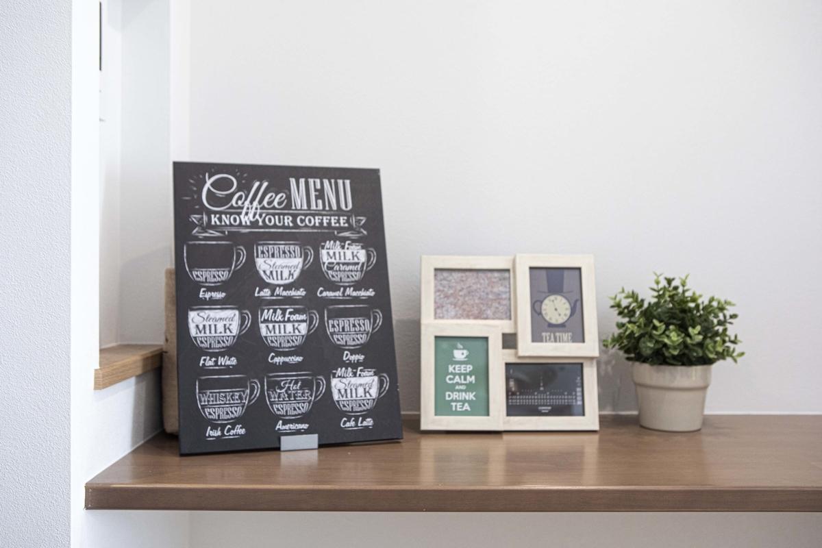 カフェスタイルを演出する黒板などのボード/注文住宅実例