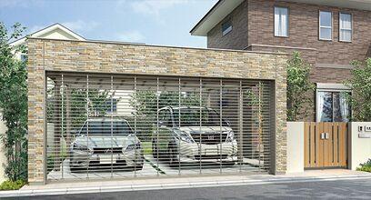 ガレージタイプの駐車スペース