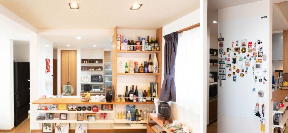 ディスプレーのようにお酒を収納しているキッチン/注文住宅実例