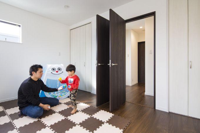 将来を考え分けられるようにしてある子供部屋/注文住宅実例