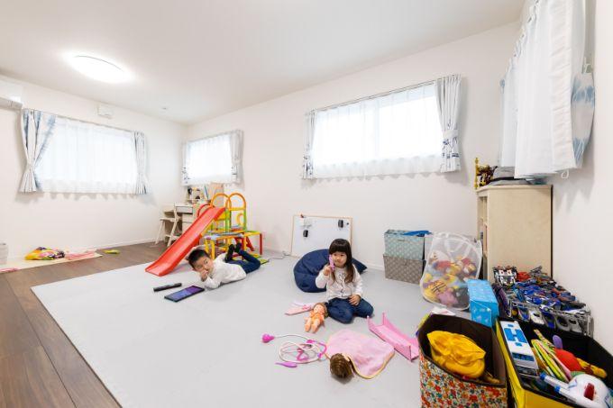 将来仕切って使うことができる余裕ある広さの子供部屋/注文住宅実例