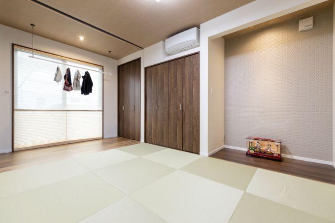 洗濯物干しを設置した広縁と和室/注文住宅実例