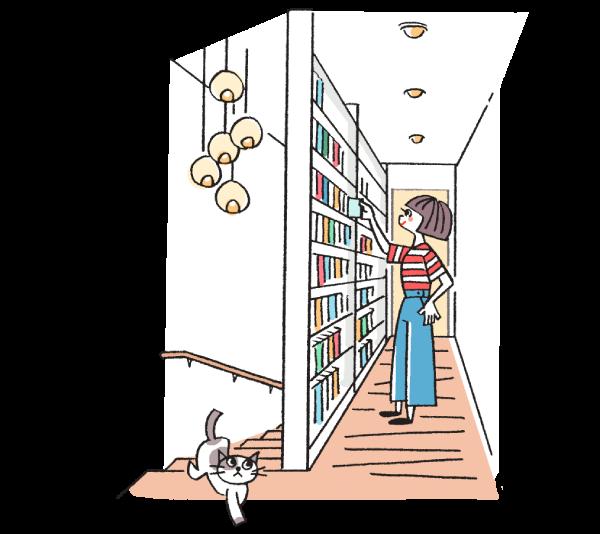 廊下の棚から本を取り出す女性のイラスト