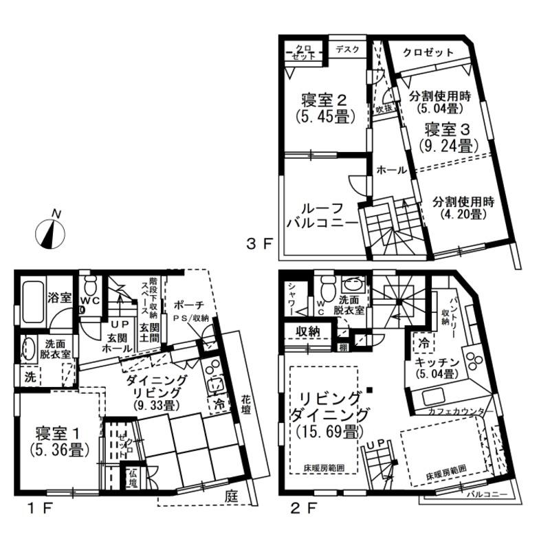 造形的特徴を持つ敷地面積19坪の都市型二世帯住宅の間取り図