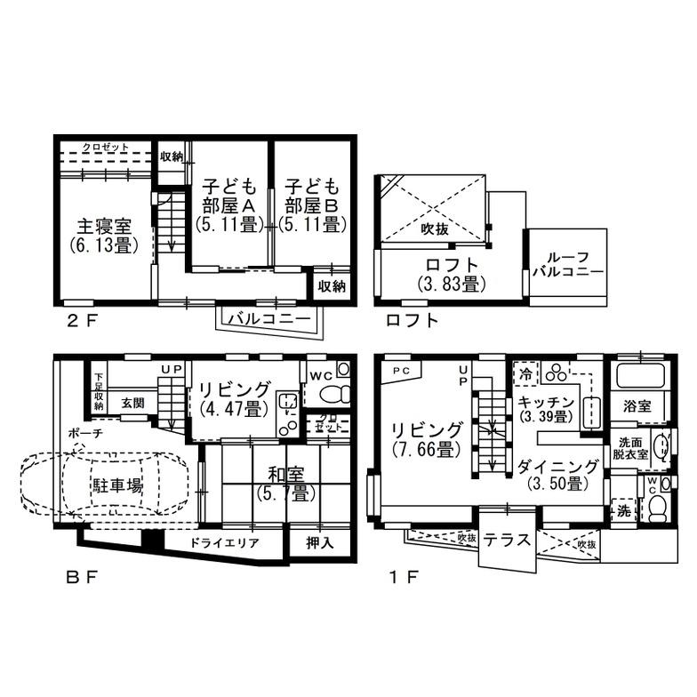 2階建て敷地面積19.8坪の二世帯住宅の間取り図