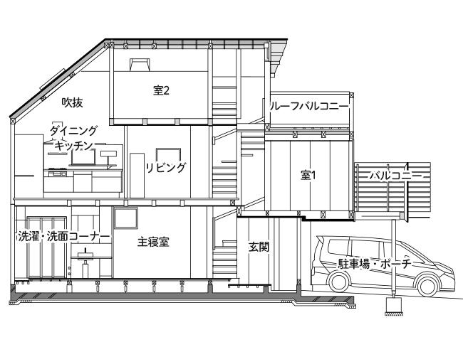 住宅隣接地でも自然採光の明るさにこだわった敷地面積18坪の家の間取り図