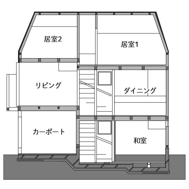 吹抜けを設け開放感がある敷地面積15坪の家の間取り図