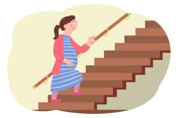 手すりのついた階段を上がる妊婦さんのイラスト