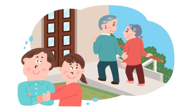 老後について想像する若い夫婦のイラスト