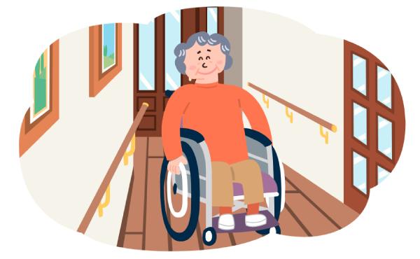 車椅子で廊下を通るイラスト