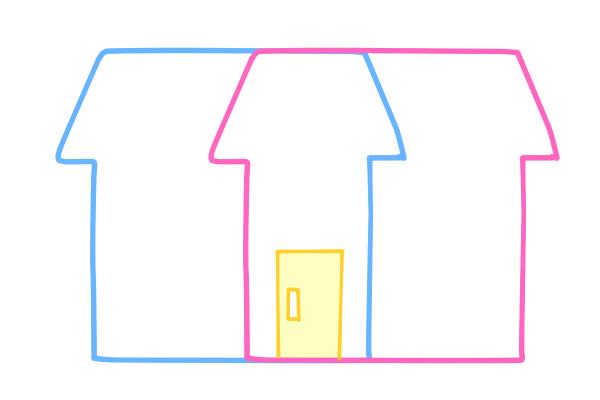 二世帯住宅(玄関のみ共用タイプ)のイメージイラスト