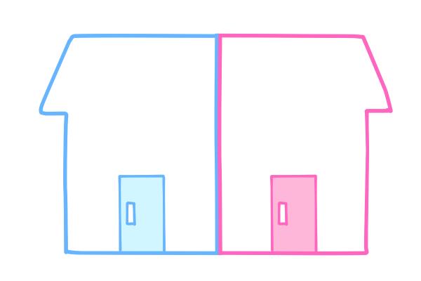 二世帯住宅(完全分離タイプ)のイメージイラスト