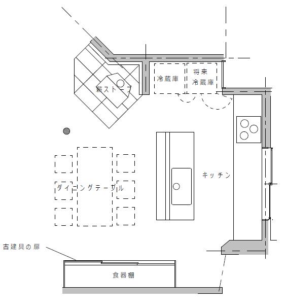 冷蔵庫が2台置けるオープンキッチンのある注文住宅実例の間取図
