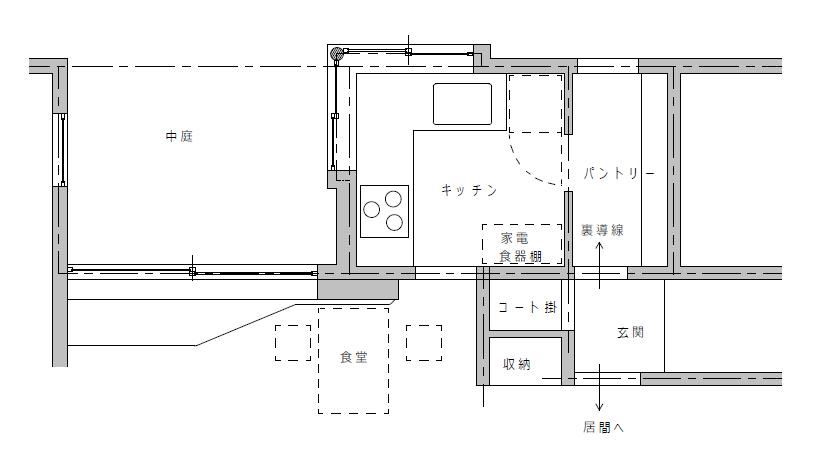 独立型のL型キッチンのある注文住宅実例の間取図