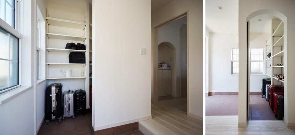 上げ下げ窓のある玄関/注文住宅実例