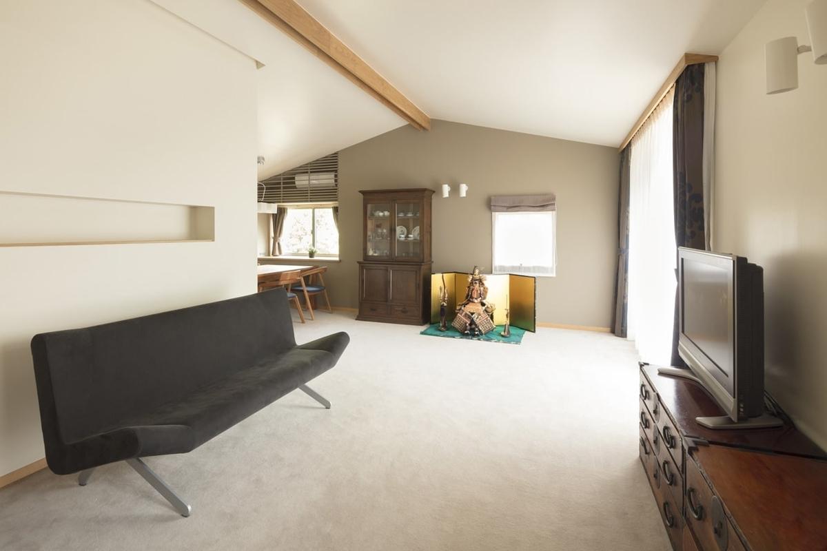 吸音効果のあるアイテムを使用すれば音が気にならない勾配天井/注文住宅実例