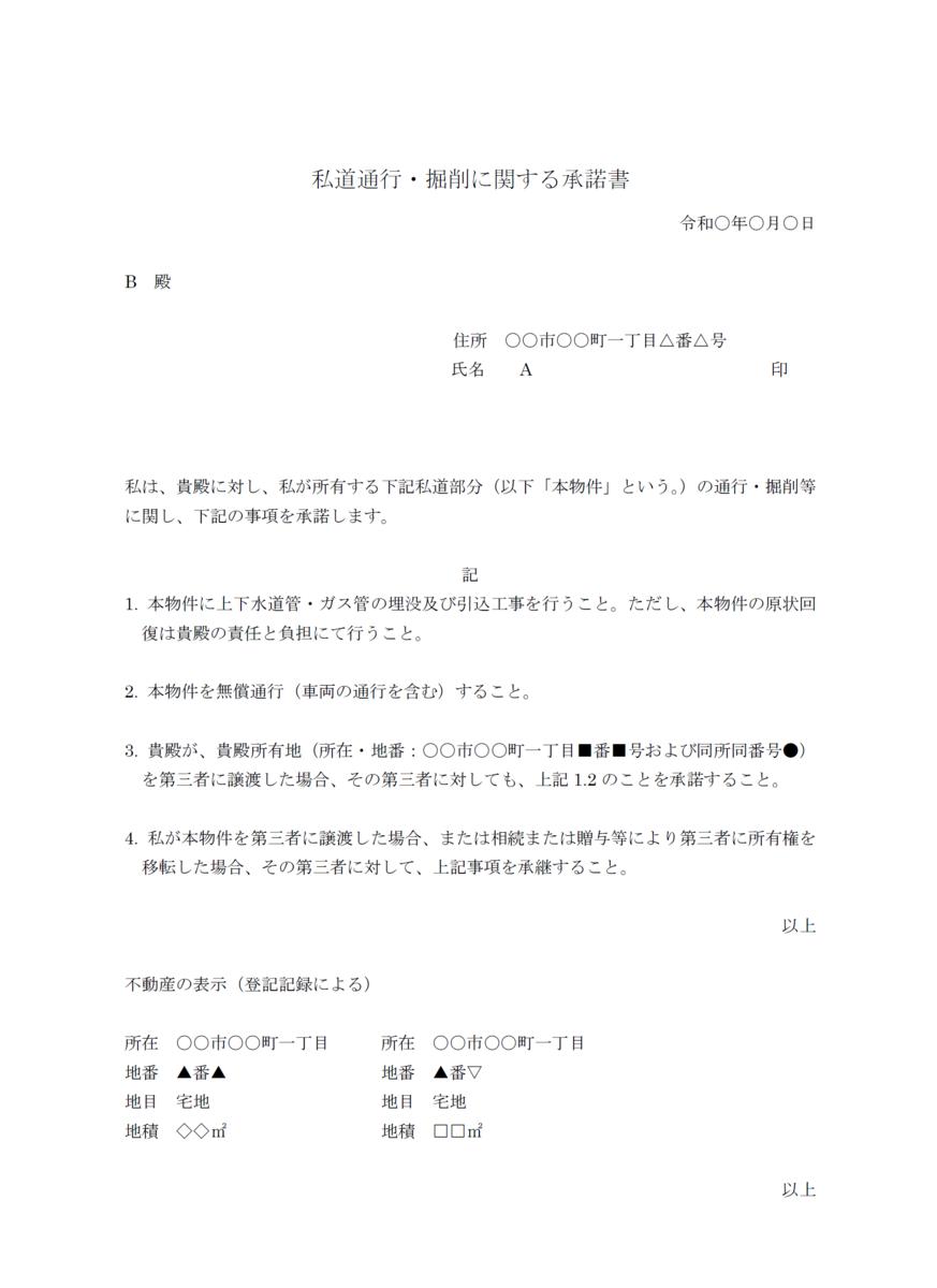 私道通行・掘削に関する承諾書のイメージ