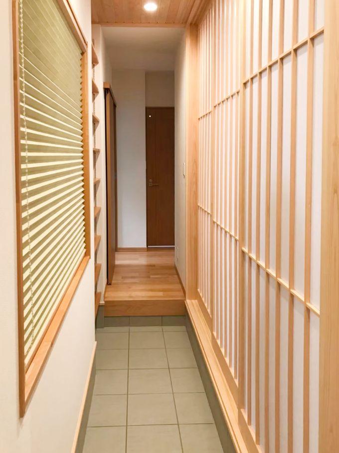 玄関から浴室などに直行できる/注文住宅実例