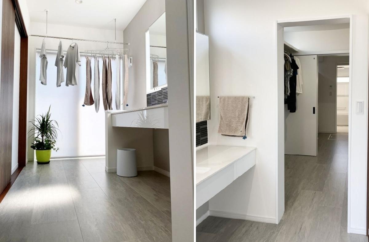 クローゼットを通じて直結している洗面室と浴室/注文住宅実例