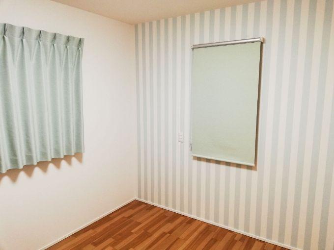 グリーンの壁紙がかわいらしい洋室/注文住宅実例