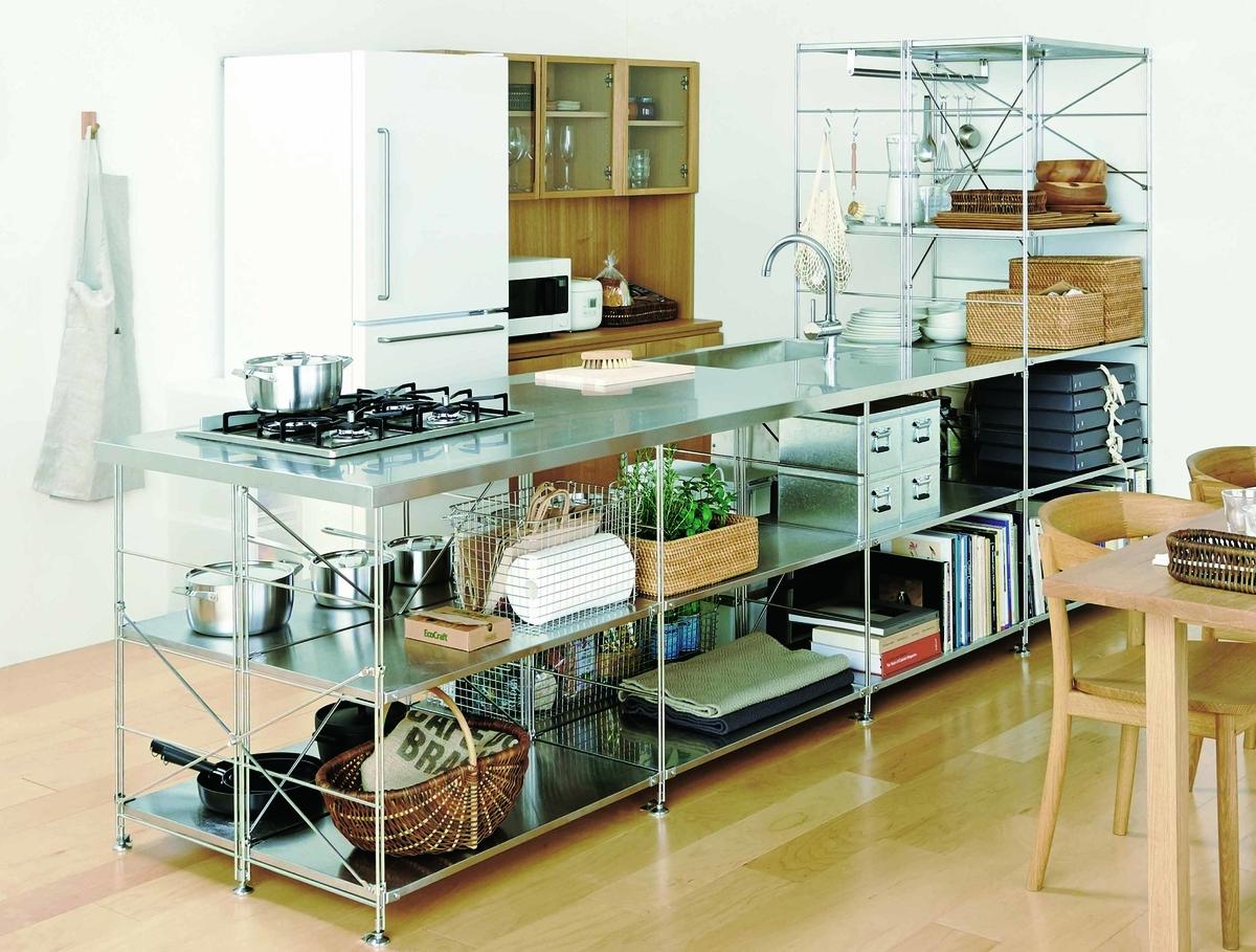 収納と一体化したステンレスキッチン
