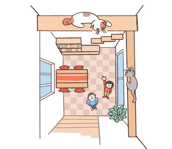 キャットウォークを歩く猫のイラスト