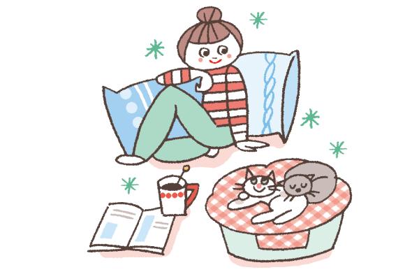 猫と暮らす女性のイラスト