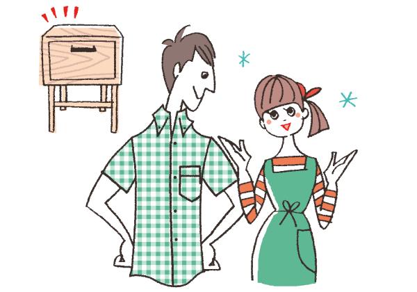 造作家具に喜ぶ男女のイラスト