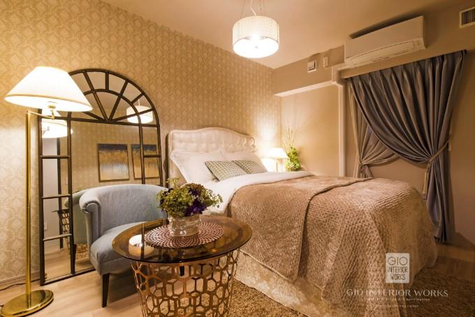 フロアスタンドを設置した寝室