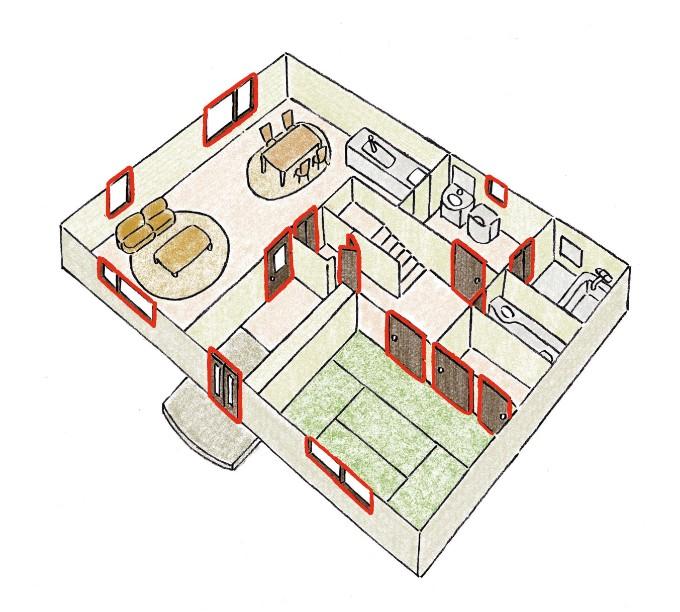 家の中にある建具のイラスト